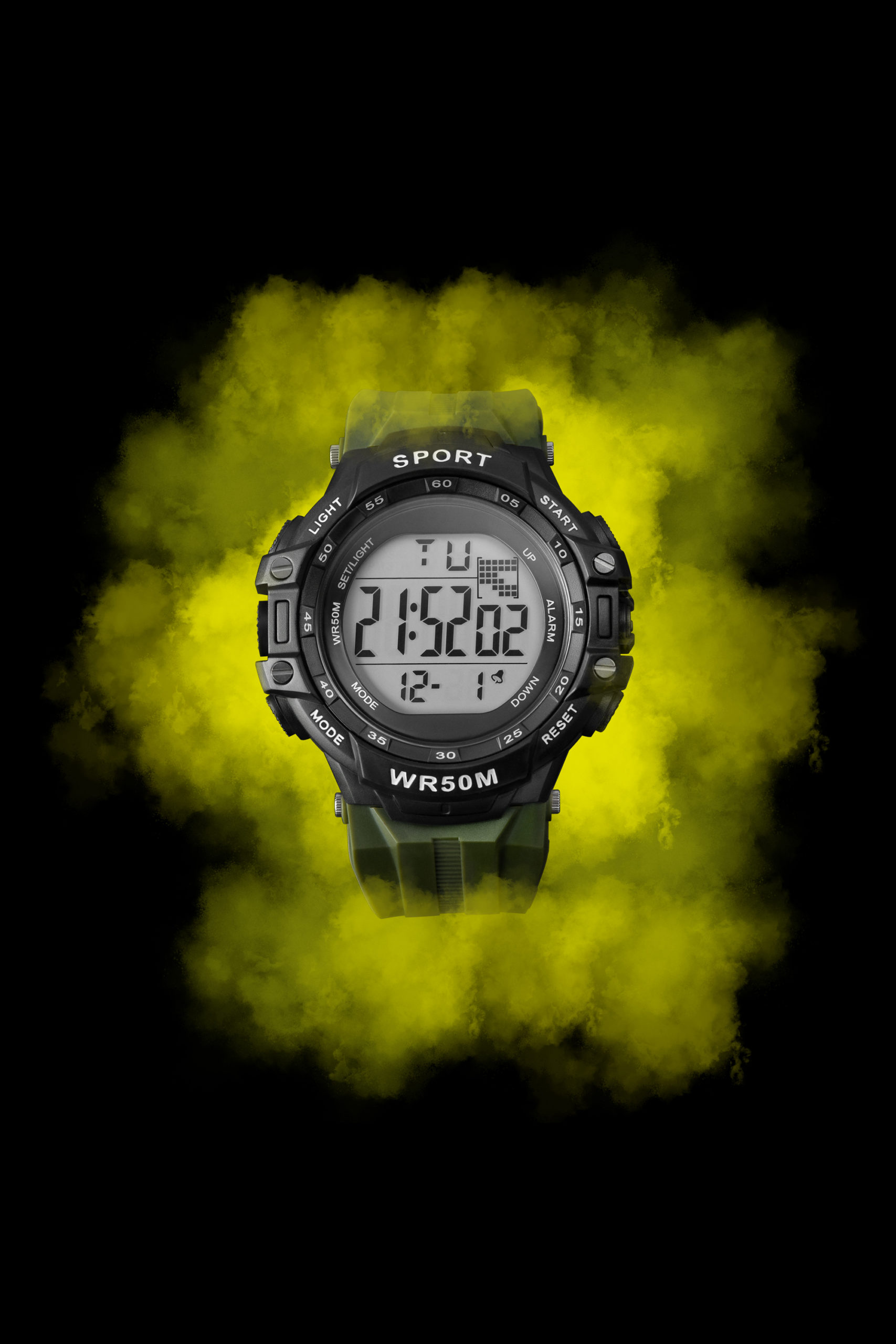 Wenbo Product Photography of Anko Watch with dramatic neon green smoke