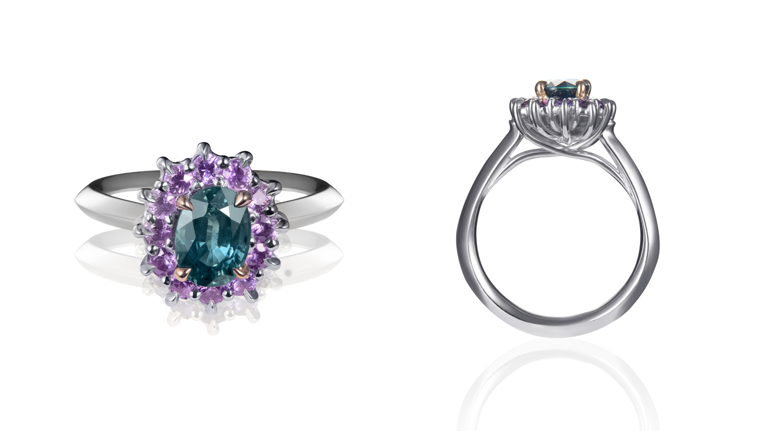 Wenbo Zhao-Premium Jewellery Catalog Image-Green and Purple Sapphire Ring
