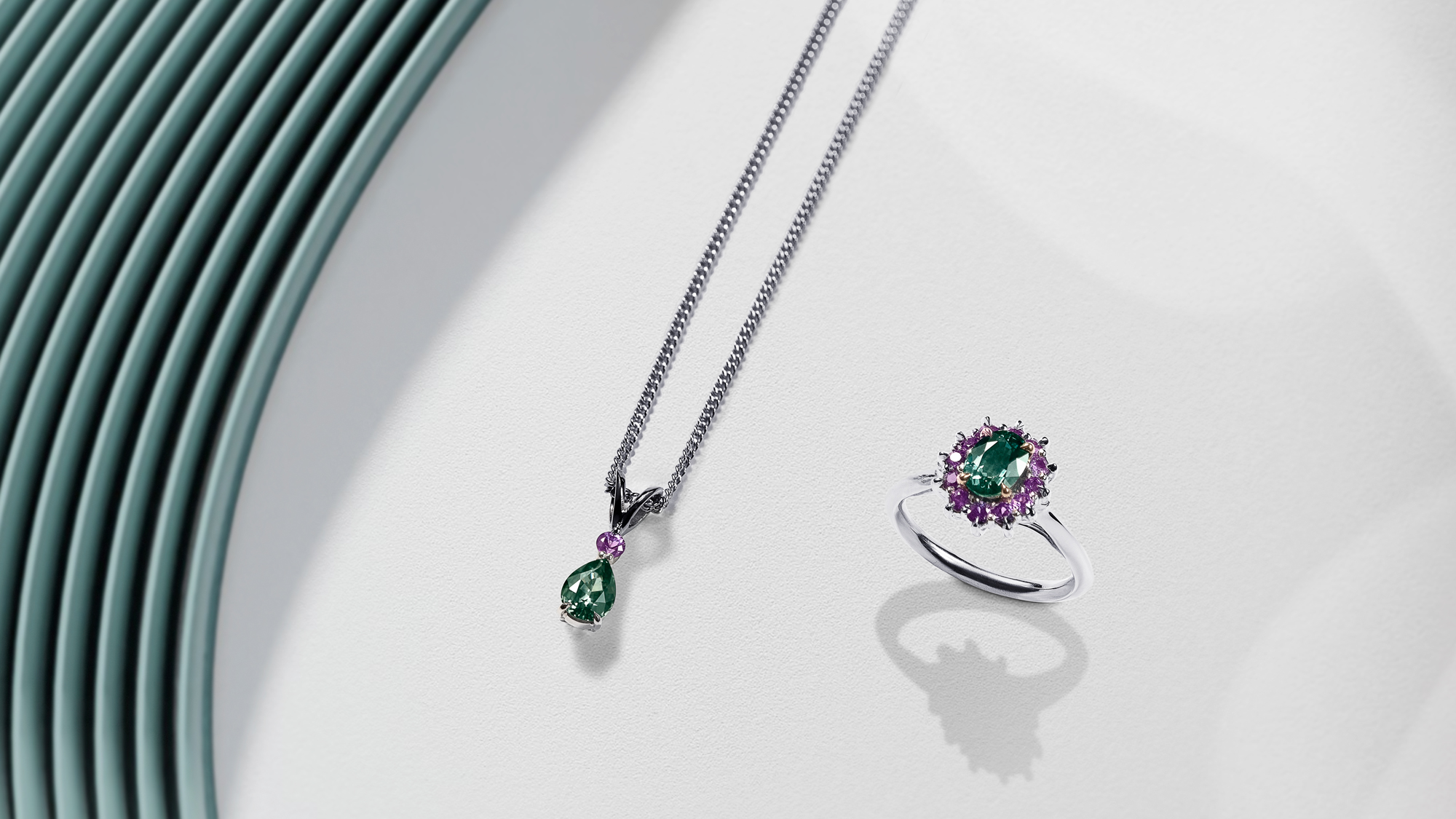 Wenbo Zhao-CGI Jewellery Photography with Object Maker-Green and Purple Sapphire Ring and Necklace CGI