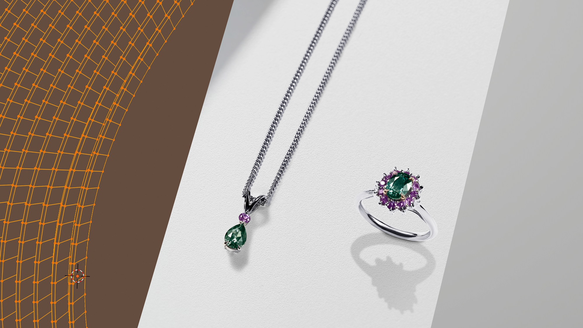 Wenbo Zhao-CGI Jewellery Photography with Object Maker-Green and Purple Sapphire Ring and Necklace CGI BTS