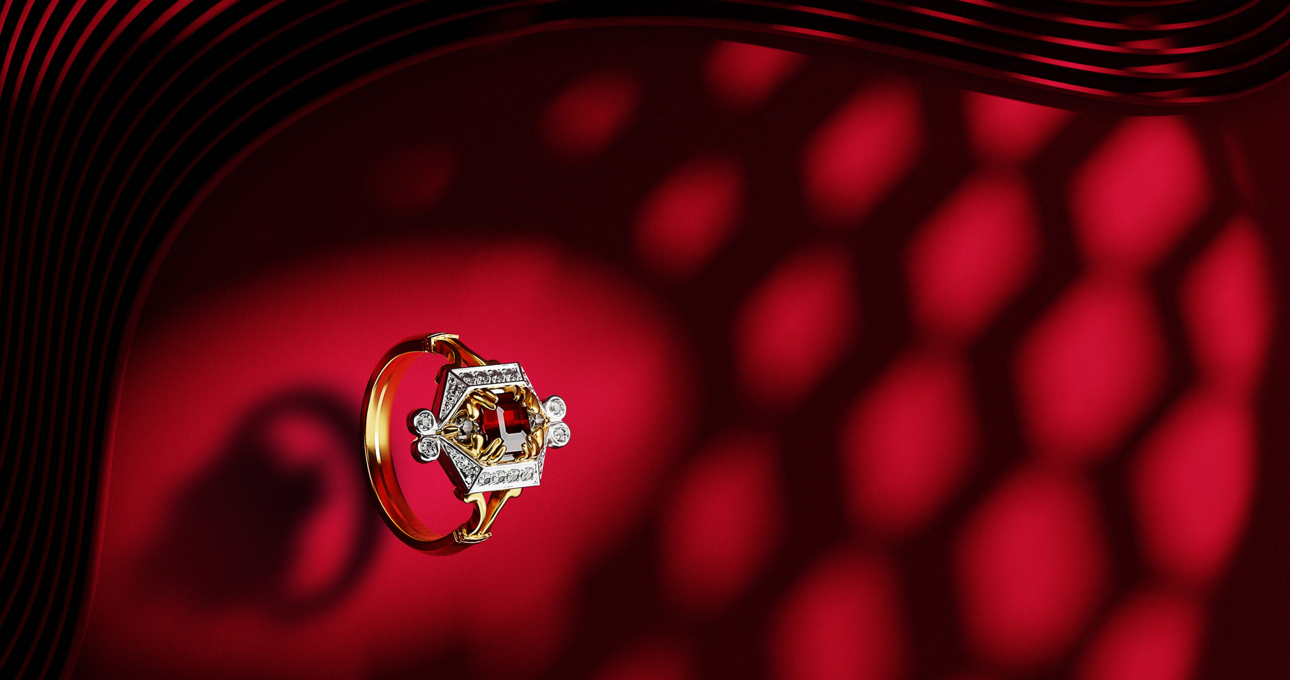 Wenbo Zhao-CGI Jewellery Photography with Object Maker-Red Shadow and gold ring- CGI BTS