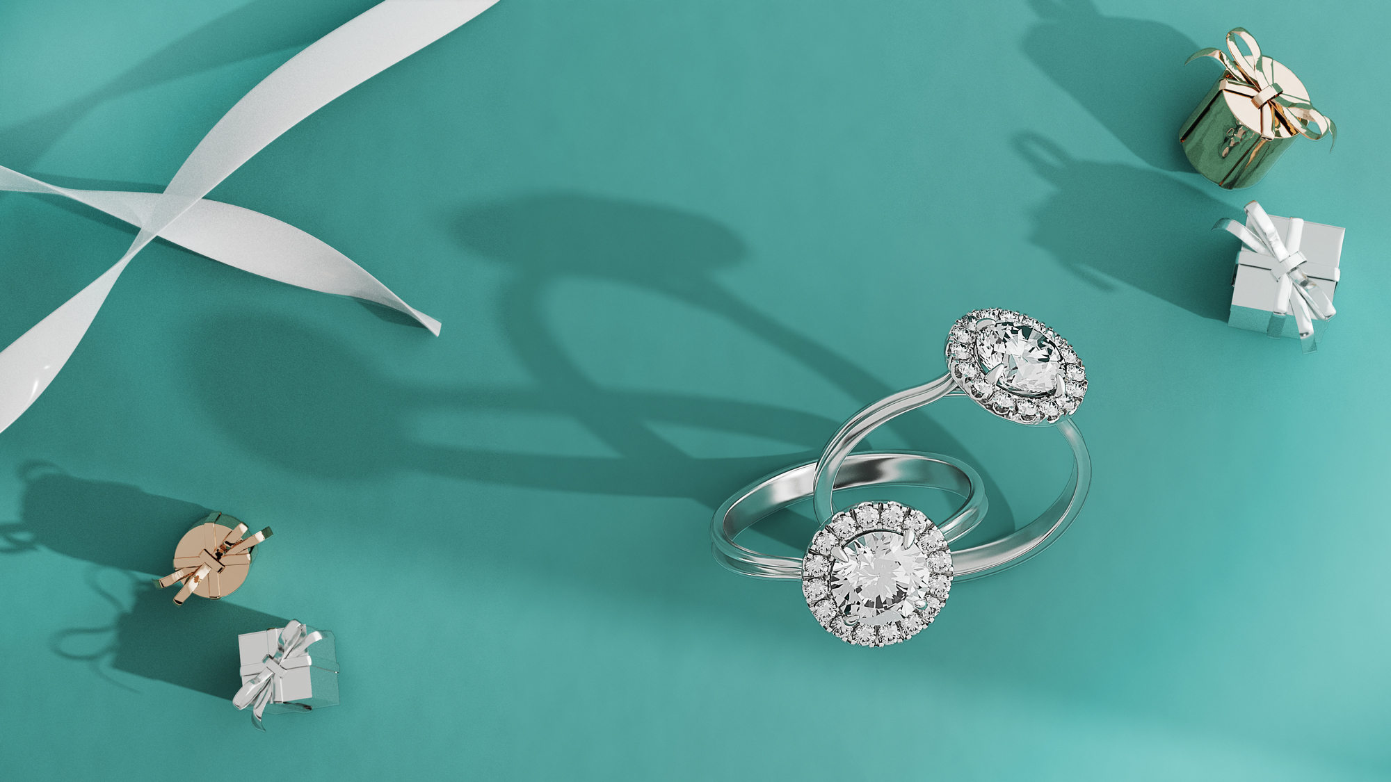 wenbo zhao-CGI Jewellery Photography- Dimond rings and tiffany color background
