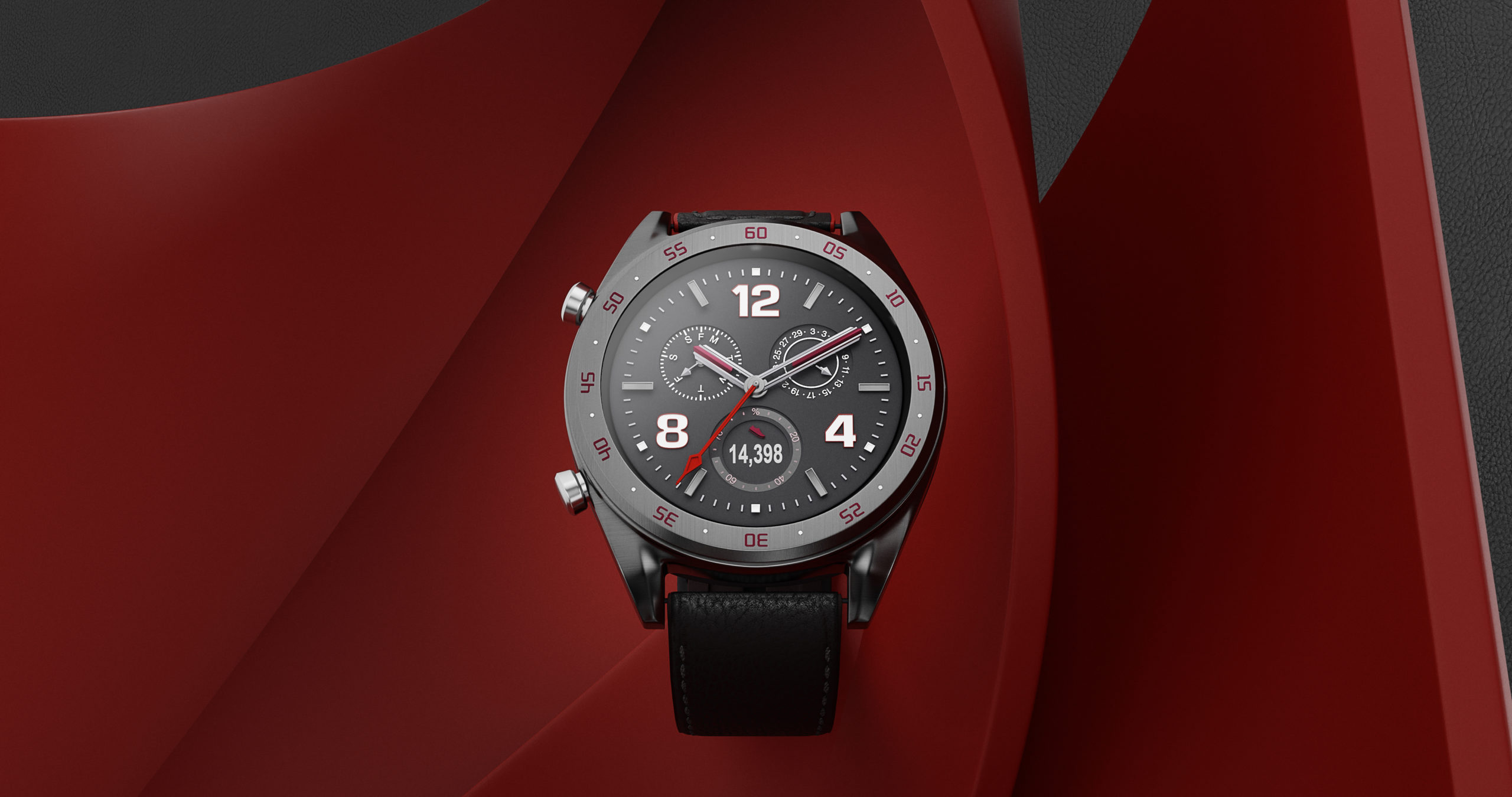 Wenbo Zhao CGI Watch Photography red background with levitation sport watch