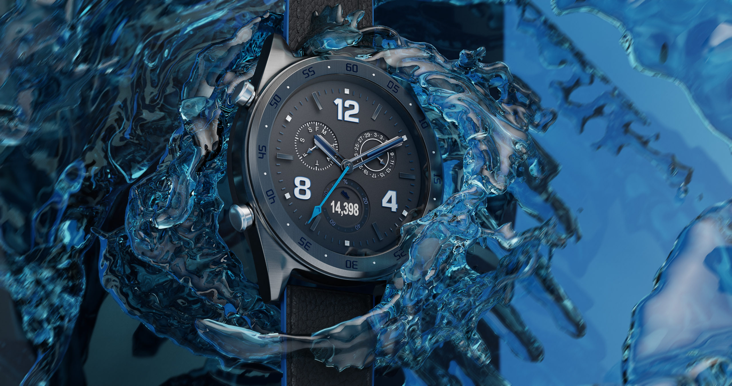Wenbo Zhao CGI Watch Photography red background with a sport watch under the ocean with splash