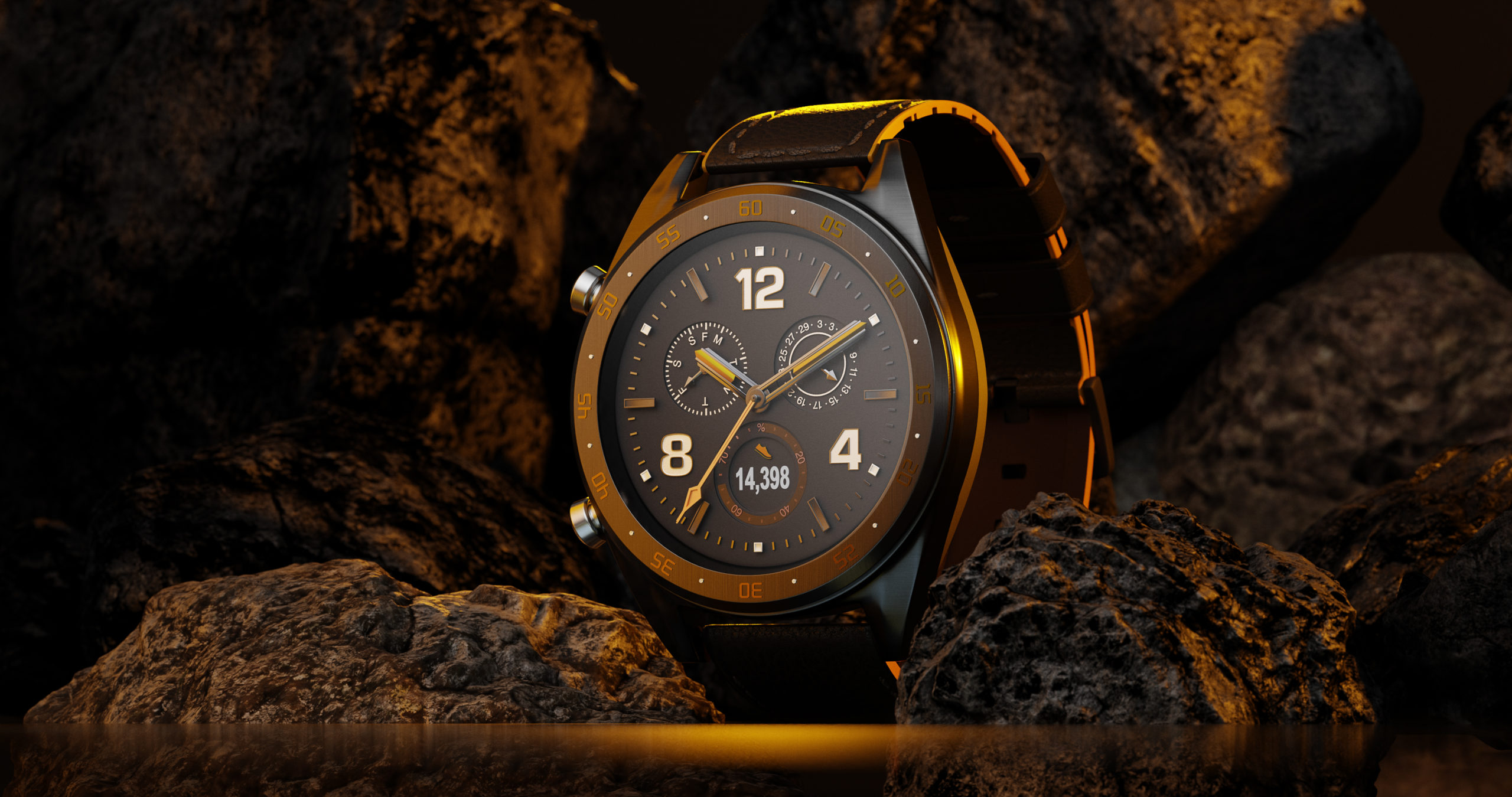 Wenbo Zhao - CGI Watch Photography-Huawei Sport Watch with stones and yellow background lighting