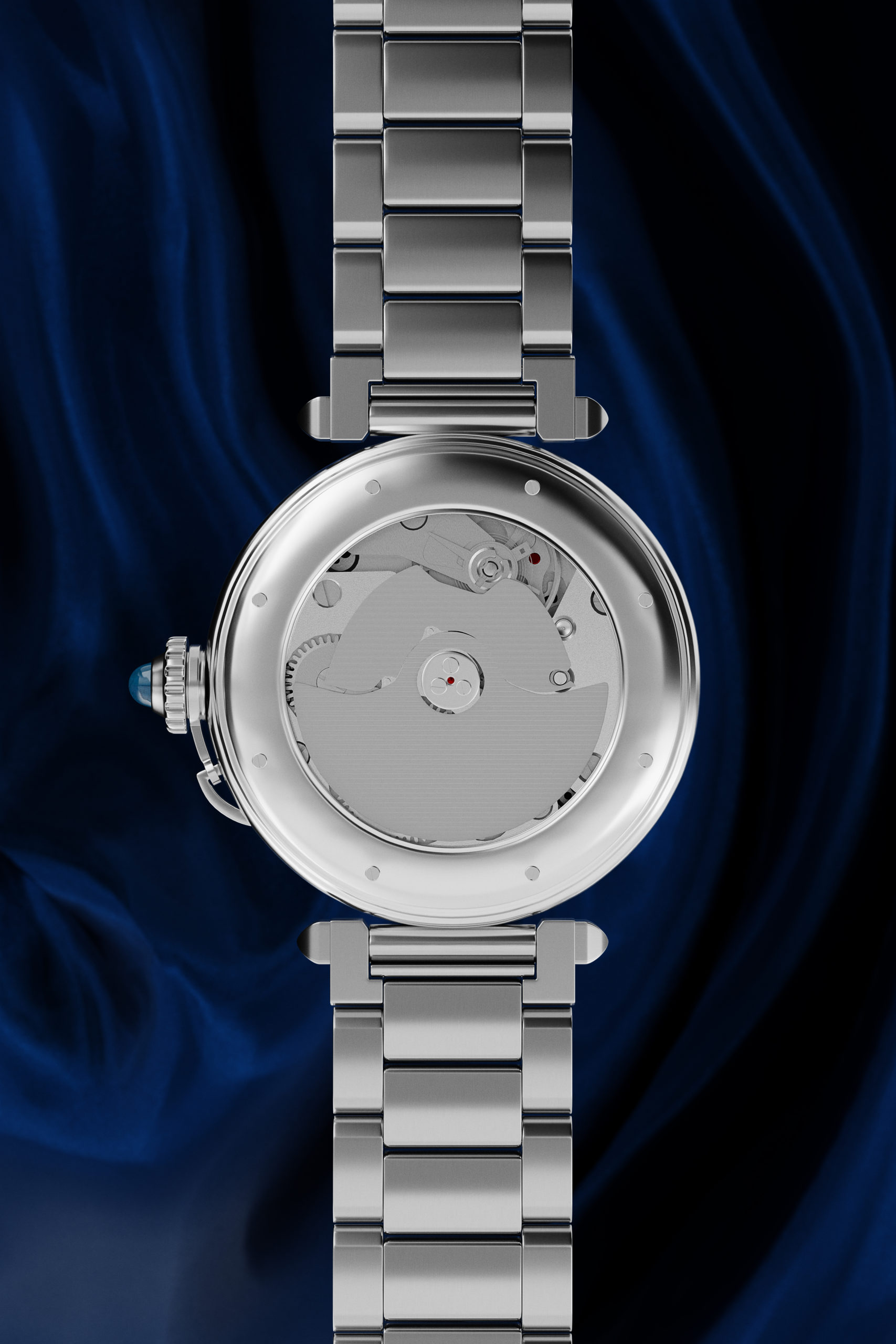 Wenbo Zhao-CGI Luxury Watch-Back Face with dark blue silk background