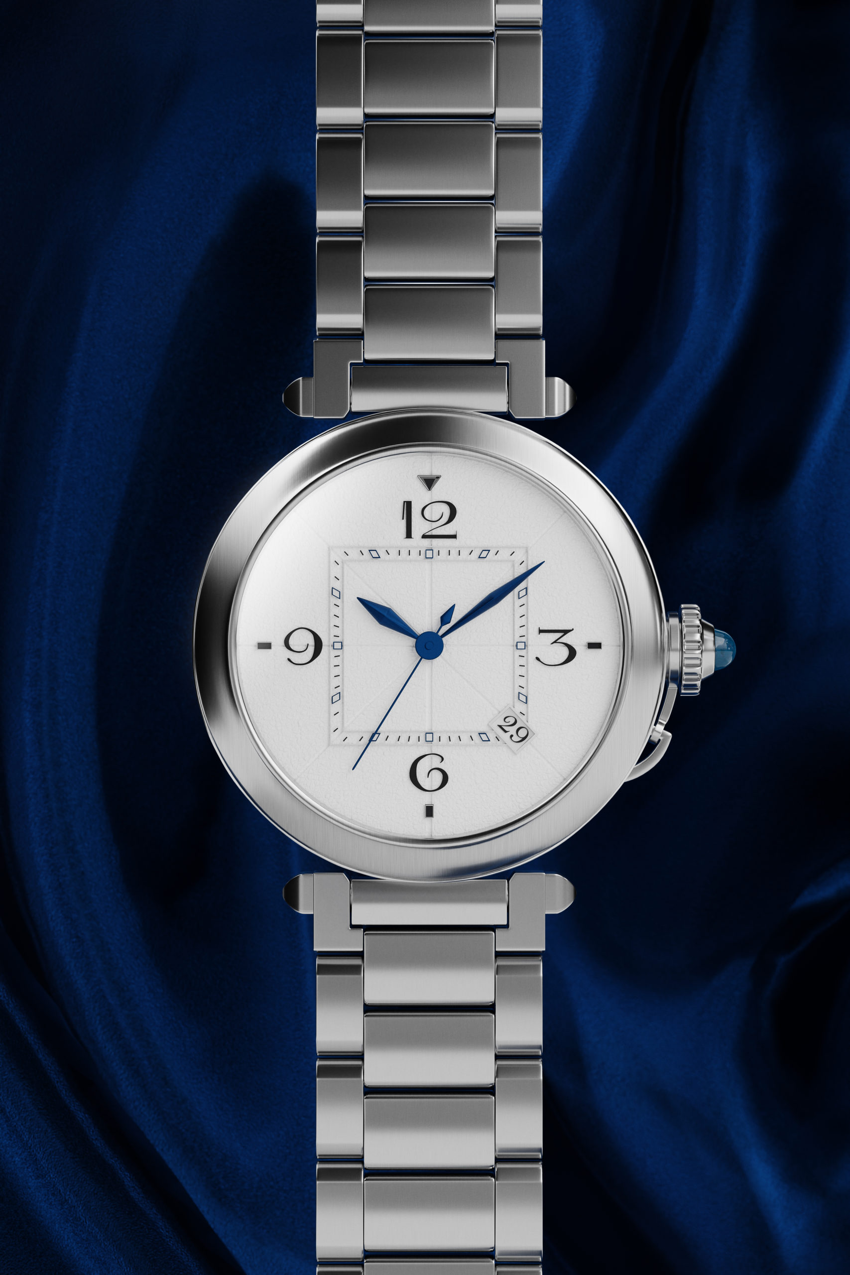 Wenbo Zhao-CGI Luxury Watch-Front Face with dark blue silk background