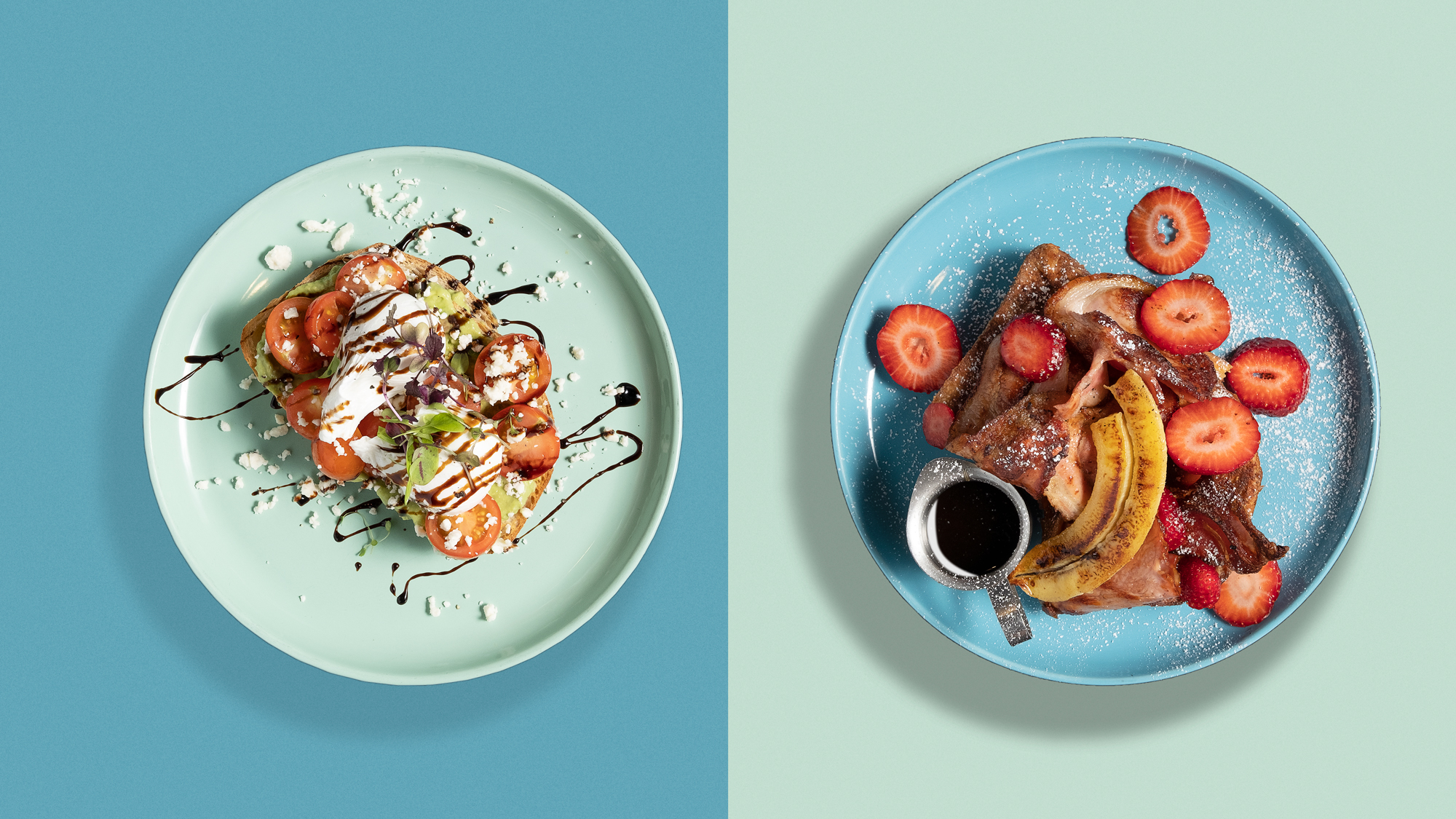 Food Photography By Wenbo Zhao Photography Look down angle for two plate of dishes with color contrast Mashed Avo and Pancake