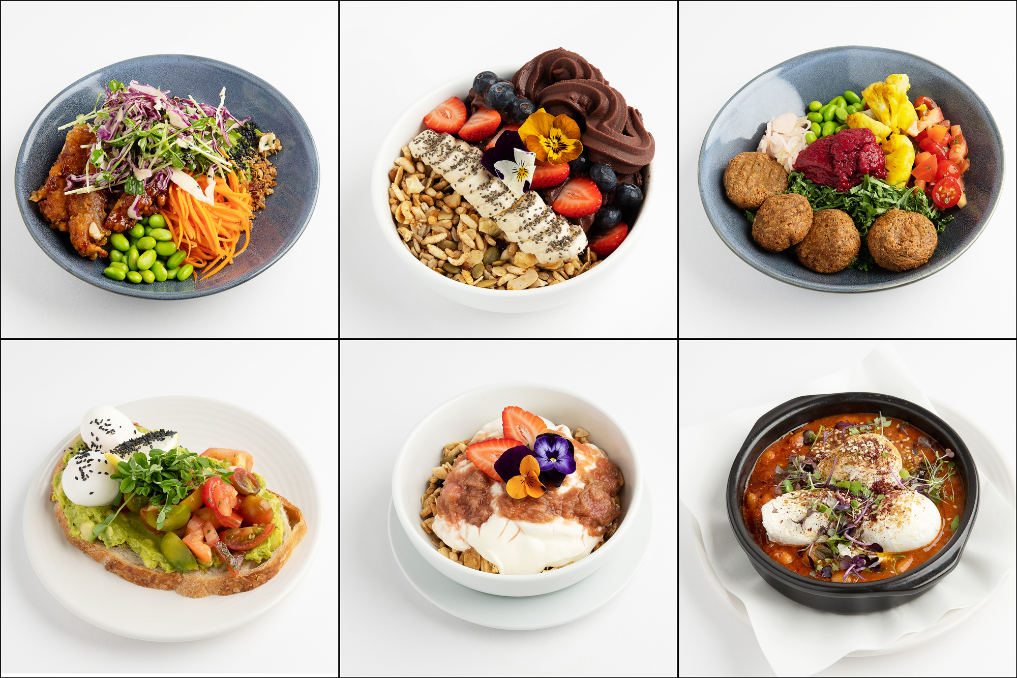 Food Photography for Jimmy Choose Cafe Menu photo collag of six dishes on white table top