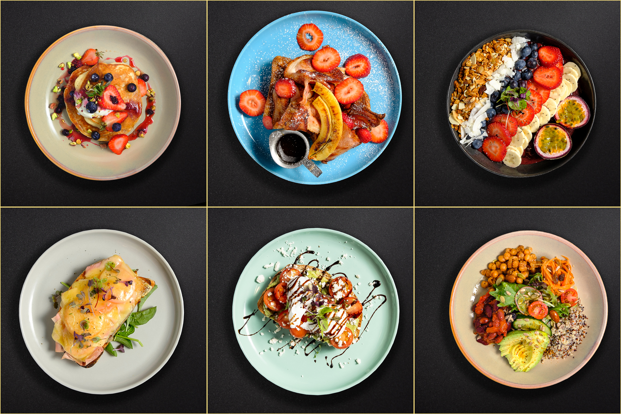 Food Photography for Cafe Els and Wollongong Cafe individle dishes on a black table top