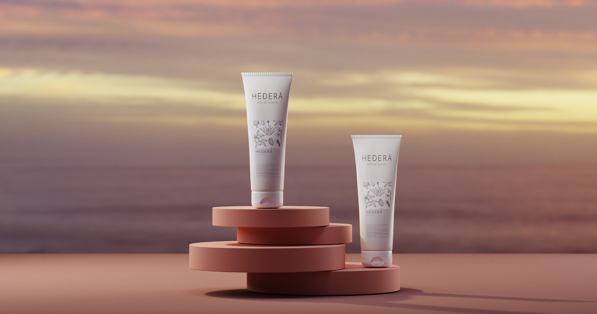 CGI Cosmetics Products Render of two cream tube products on a dish stand in front of a sunset sky in the background- by Wenbo Zhao Photography-Sydney