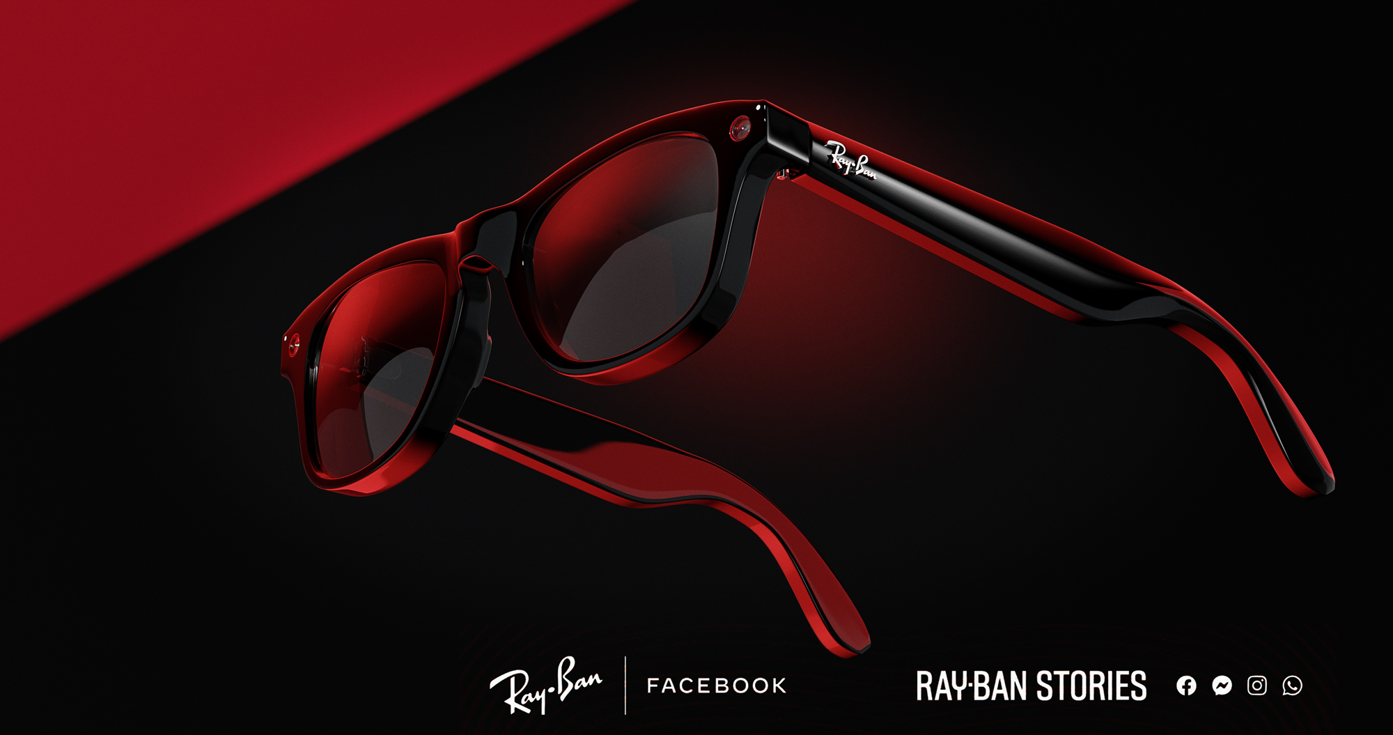 CGI-Product-Photography-Rayban-Stories-Facebook-Glasses in front of black and red background with red rim lights
